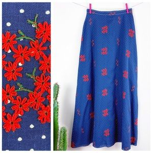 VTG 70s Country Set Polka Dotted Floral Maxi Skirt